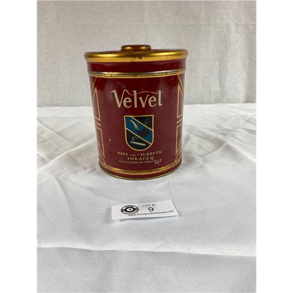 Vintage Velvet Tobacco Tin with Top