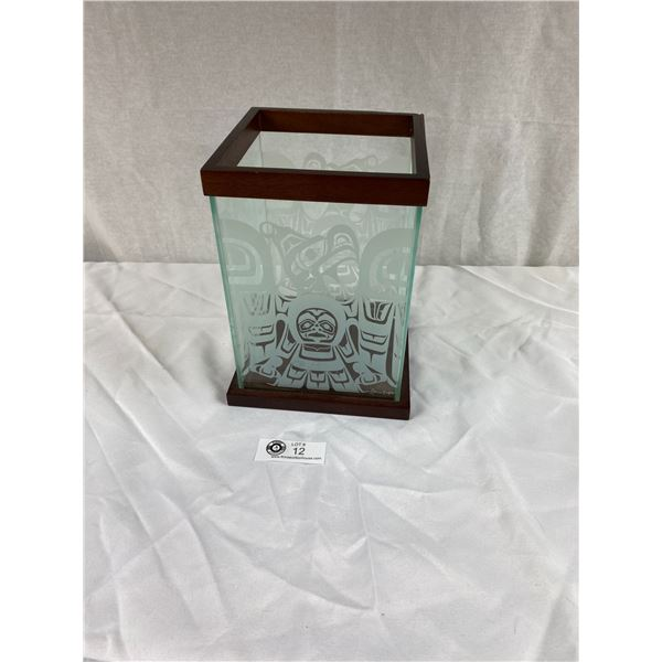 Very Nice First Nations Etched Glass Box 7x7x9.5