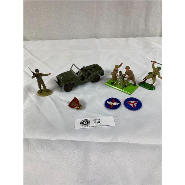 Nice lot of Military Figures Tootsietoy jeep britons etc