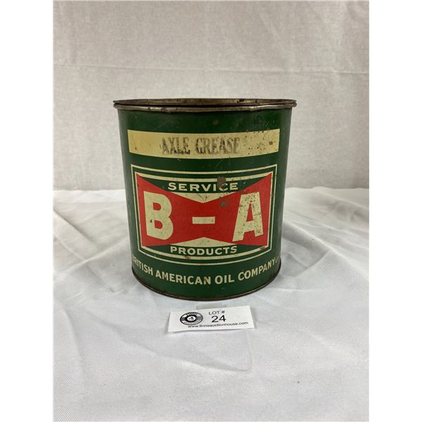 Vintage BA Bowtie Axle Grease Tin with Lid