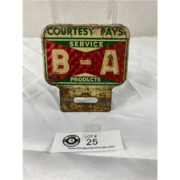 Vintage BA Courtesy Pays License Plate Topper English