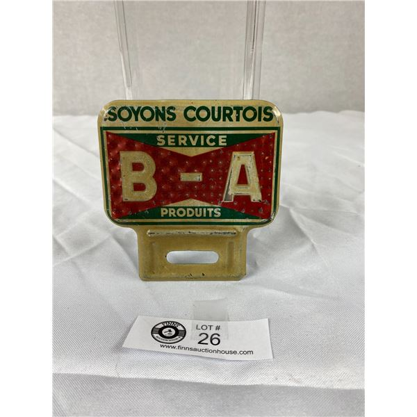 Vintage BA Courtesy Pays License Plate Topper French