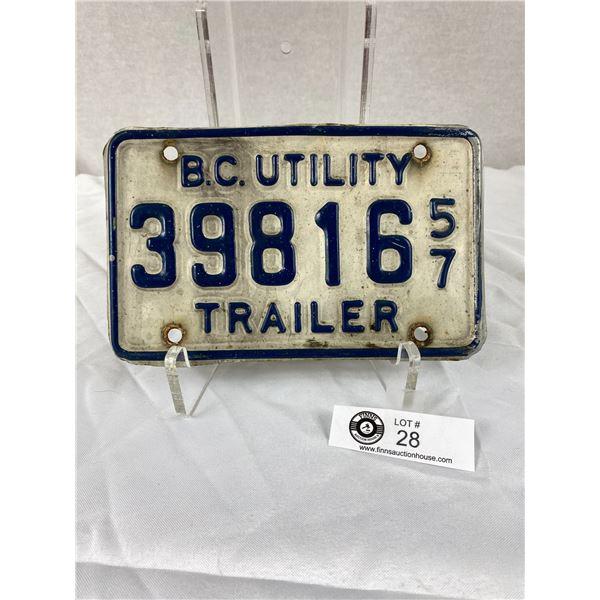 1957 BC Utillity Trailer License Plate