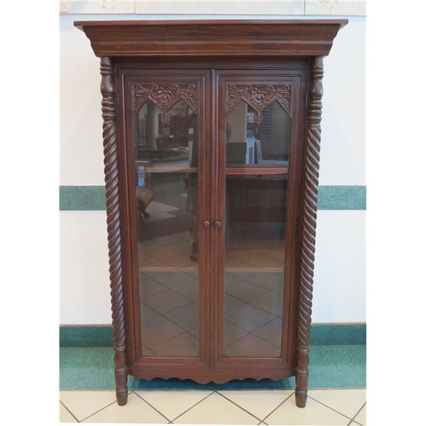 """Carved Hardwood Cabinet w/ Glass Doors 42.5"""" x 21.5""""D x 70""""H"""