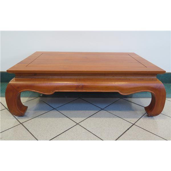 "Hardwood Opium Coffee Table w/ Curved Legs, Indonesia 45"" x 29.5"" x 16""H"