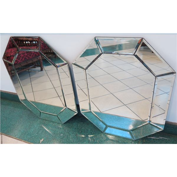 """Pair of Beveled Octagonal Geometric Wall Mirrors, Approx. 34"""" x 24.5"""""""