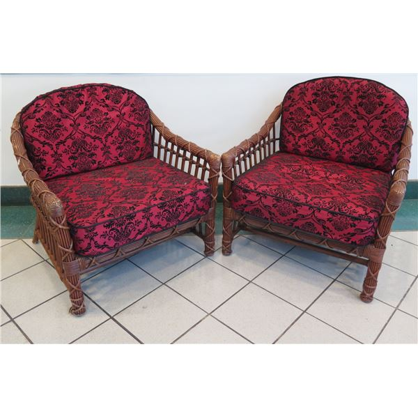 """Pair of Rattan Chairs with Red & Black Damask Cushions 32""""W x 21""""D x 31""""H"""