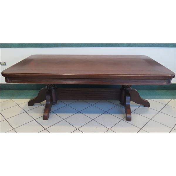 """Dark Hardwood Dining Room Table w/ Carved Reed & Pineapple Details 7ft x 45"""" x 30""""H"""
