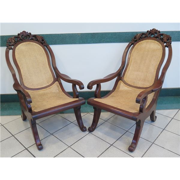 """Pair of Cane Rattan Chairs w/ Carved Hardwood Frame, Curved Legs 22.5""""x 24"""" x 42""""H"""
