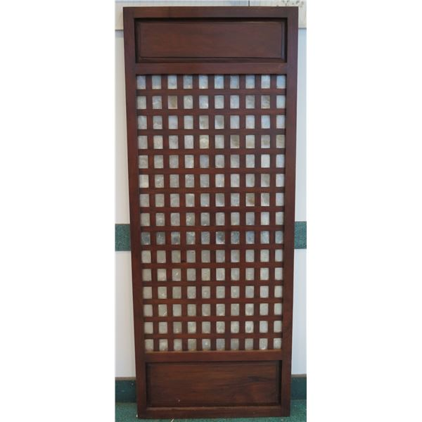 """Narra Wood Screen w/ Capiz Shell Insets 32""""x2""""x81"""" (a few surface scratches from handling)"""