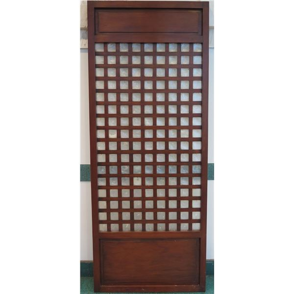 """Tall Narra Wood Panel w/ Mother-of-Pearl Insets 36""""x2""""x90"""" (a few surface scratches from handling)"""