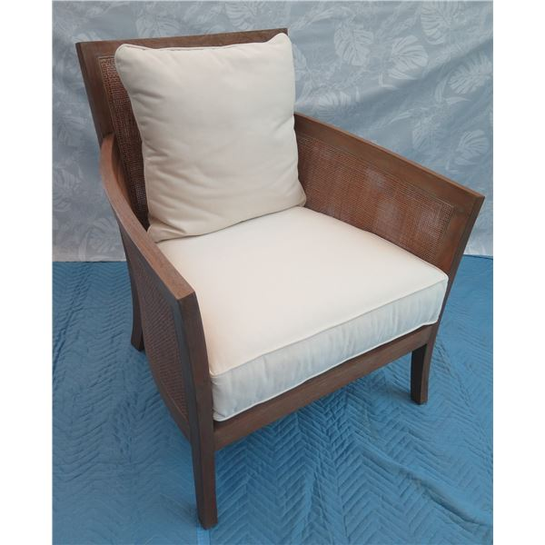 Crate & Barrel Woven Armchair w/ White Seat & Back Cushions