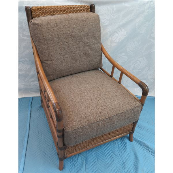 """Tommy Bahama Rattan Armchair w/ Woven Accents 26""""x20""""x36"""" Back Ht."""