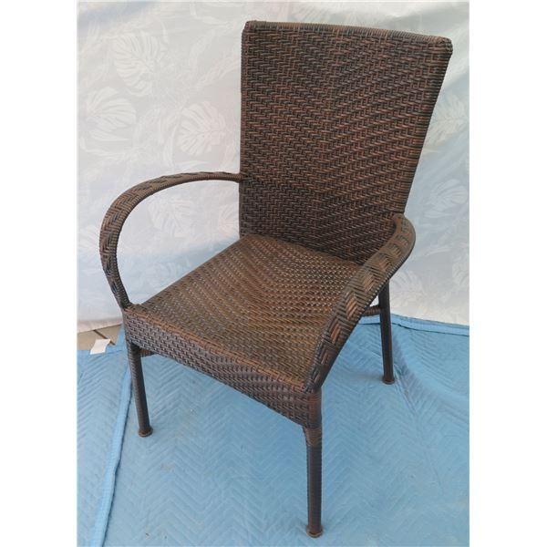 Woven Rattan Armchair 24 x17 x37  Back Ht.