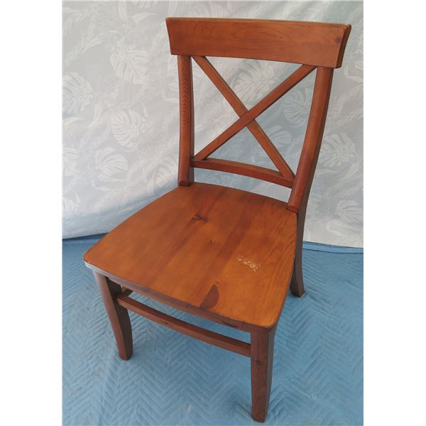 """Pottery Barn Wooden Chair w/ Crossed Back 21""""x18""""x36"""" Back Ht."""