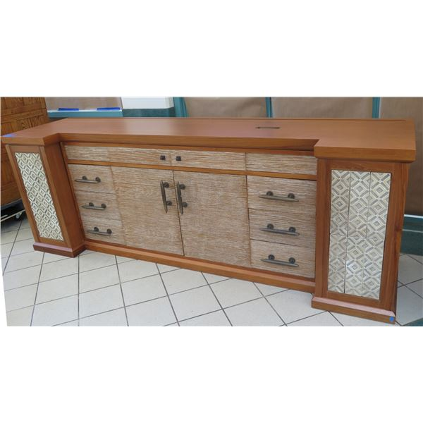 Large 4-Piece Solid Wood Entertainment Center w/ Cabinet & 6 Drawers 120 x30 x43 H