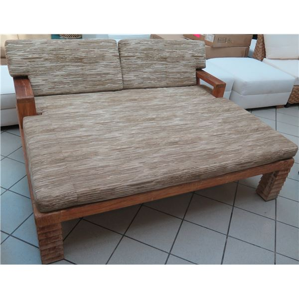 """Large Carved Solid Wood Lounger w/ Armrests & Cushions 69""""x47""""x32"""" Back Ht."""
