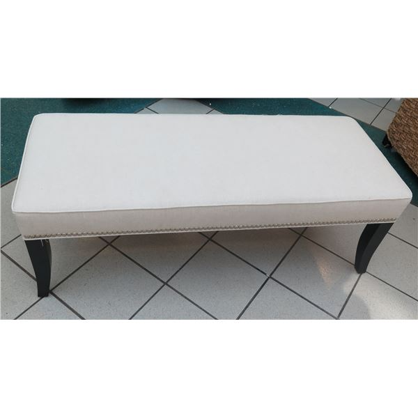 "Crate & Barrel Upholstered Bench w/ Metal Stud Detail 52""x20""x18"" Ht."