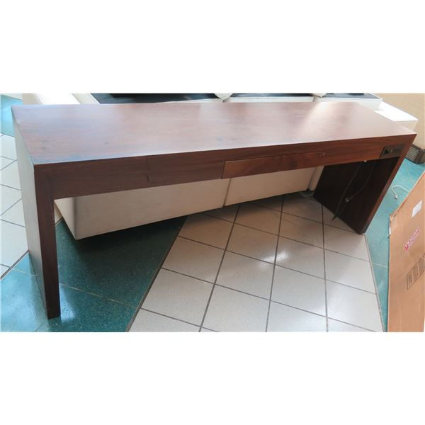 """Long Wooden Console Table w/ Center Drawer 84""""x20""""x30""""H (shows scratches/surface wear)"""