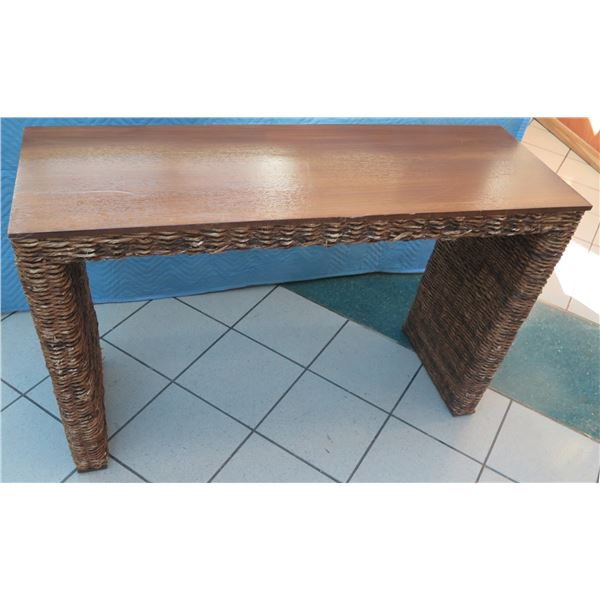 """Small Woven Entry Console Table w/ Wooden Top 48""""x16""""x30""""H (shows scratches/surface wear)"""