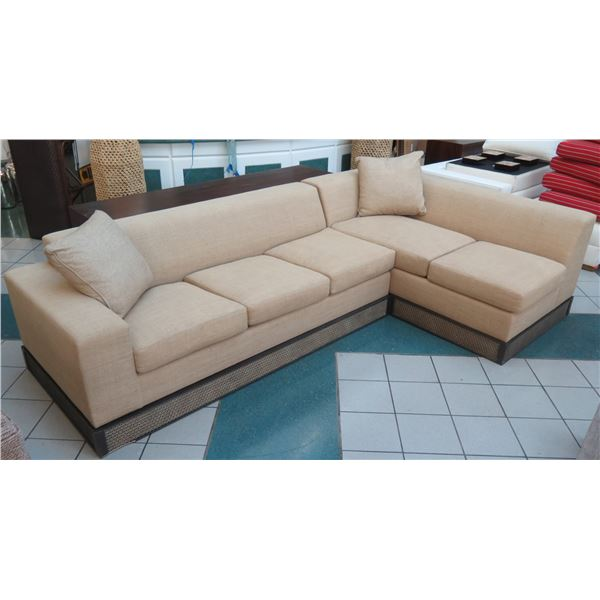"""Edward Ferrell Sectional Sofa Sleeper Bed w/ Etched Wooden Base, 120""""x75""""x27""""H"""