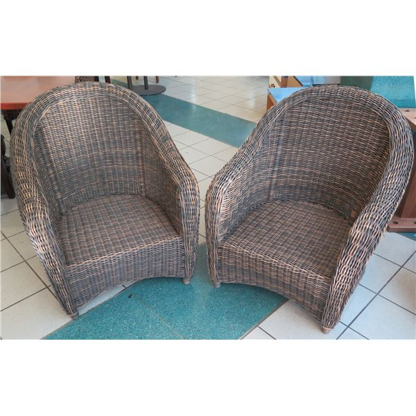 """Qty 2 Barrel-Back Outlook Woven Rattan Chairs 32"""" x 25"""" x 35"""" Back Ht."""