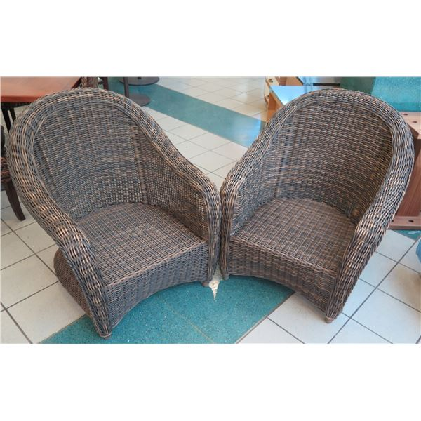 "Qty 2 Barrel-Back Outlook Woven Rattan Chairs 32"" x 25"" x 35"" Back Ht."