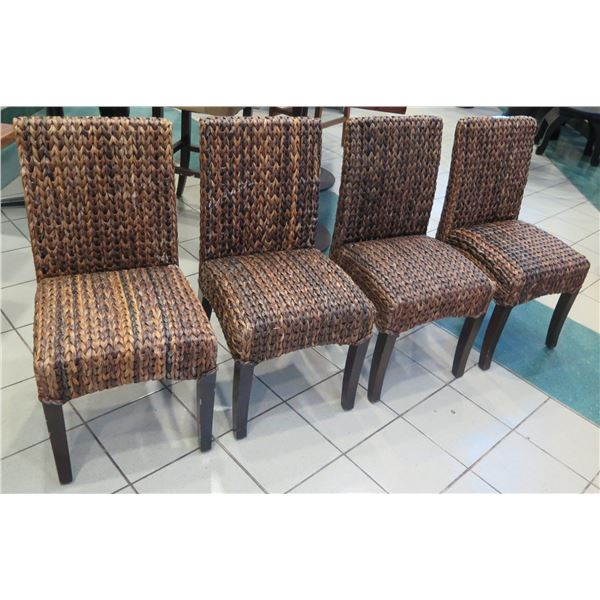 """Qty 4 Woven Chairs 19"""" x 16"""" x 36"""" Back Ht."""
