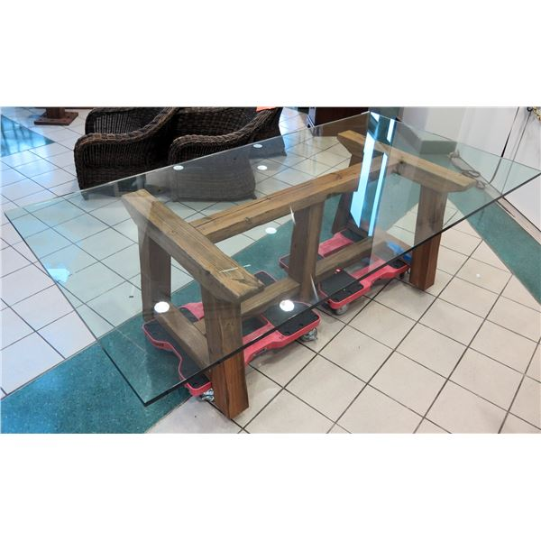 Large Thick Glass Table-Top w/ Wooden Base 100  x 50  (red rolling carts not included). Tiny nick