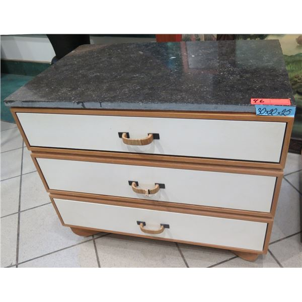 Wooden 3-Drawer Nightstand w/Woven Handles & Stone Top 24 x20 x25 H