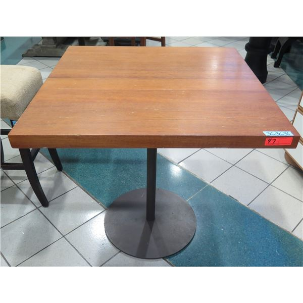 Wooden Table w/ Round Metal Base 36  x 36  x 30  H