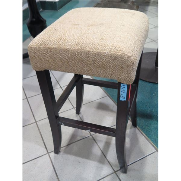 """Wooden Bar-Height Stool w/ Cushioned Seat 17""""x17""""x31""""H"""