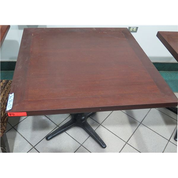 """Square Wooden Table w/ Metal Base 36""""x36""""x30"""" H"""