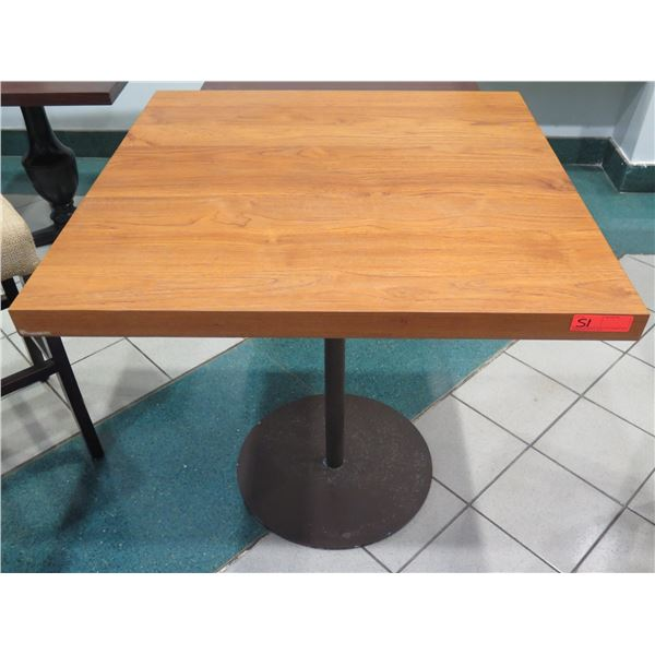 """Wooden Bar-Height Table w/ Round Metal Base 36""""x36""""x36"""" H"""
