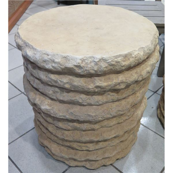 """Round Stone-Look Side Table, Composite Material 20"""" Dia, 22"""" H"""