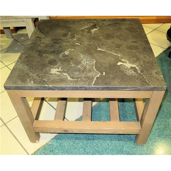 """Wooden Side Table w/ Undershelf & Natural Stone Top 26""""x26""""x18"""" H"""