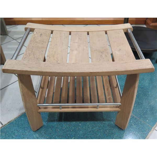 """Frontgate Teak & Brushed Stainless Steel Shower Bench 24""""x17""""x19""""H (surface faded, shows some wear)"""