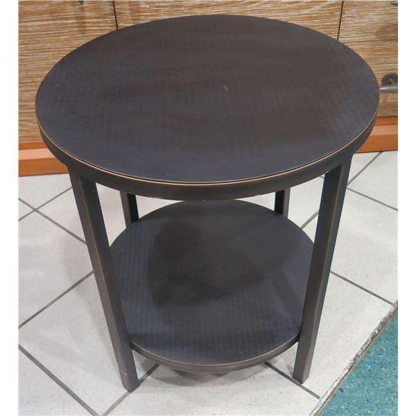"Round Black Side Table w/ Undershelf 20"" Dia, 22"" H"