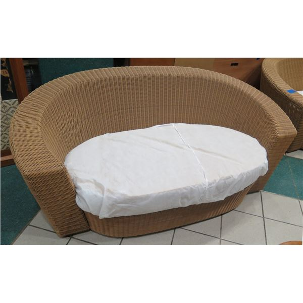 """Woven Synthetic Rattan Lounger w/ White Dust Cover Over Cushion 74""""x34"""""""