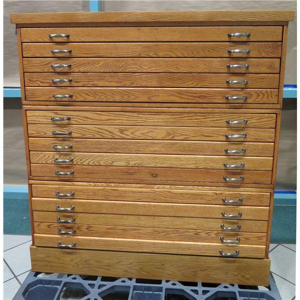 """Wooden 15-Drawer Blueprint Storage Unit w/ Metal Handles 45"""" X 36"""" X 50""""H (1 piece)"""