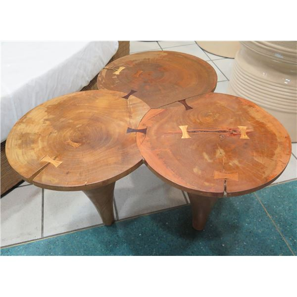 """Wooden Tri-Table, Fusion of 3 Round Tables 33""""x18""""x19""""H"""