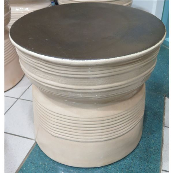 """Tall Round Glazed Ceramic Accent Table 25"""" Dia, 24""""H"""