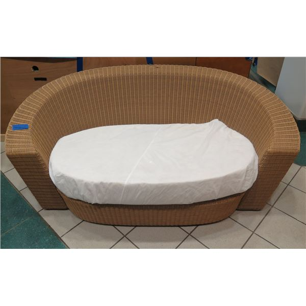 """Woven Synthetic Rattan Lounger w/ White Dust Cover Over Cushion 74""""x34"""". Back (top) has slight damag"""