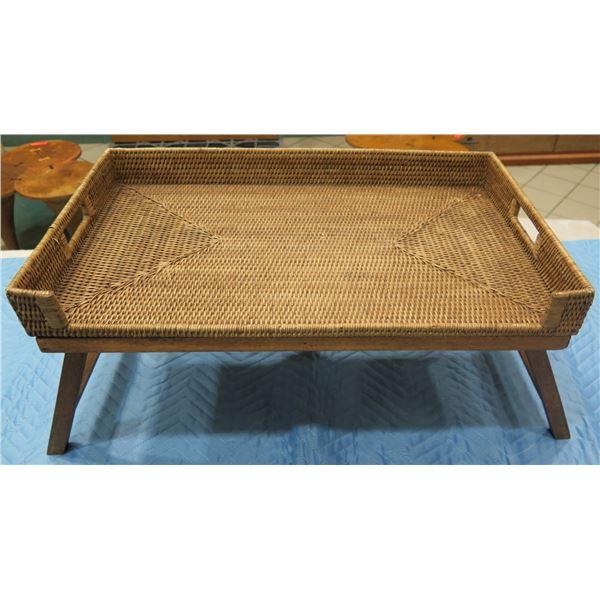 "Woven Rattan Bedside Tray w/ Handles & Folding Legs 26""x16""x13""H"