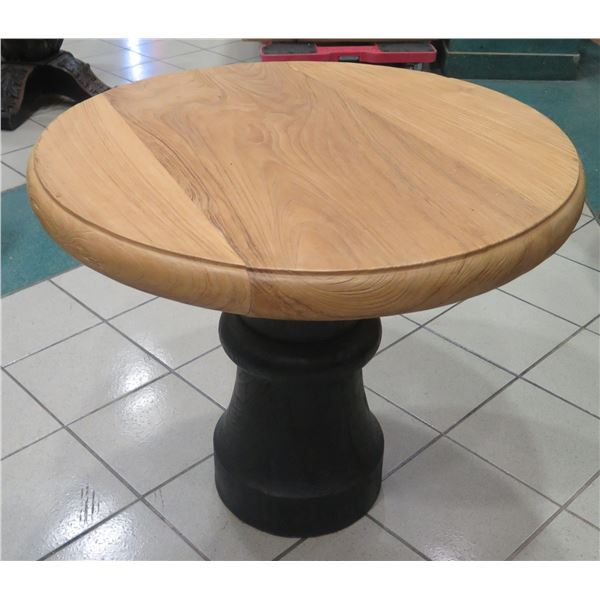 """Small Textured Wooden Bistro Table w/ Wooden Base 36"""" Dia, 30"""" H"""