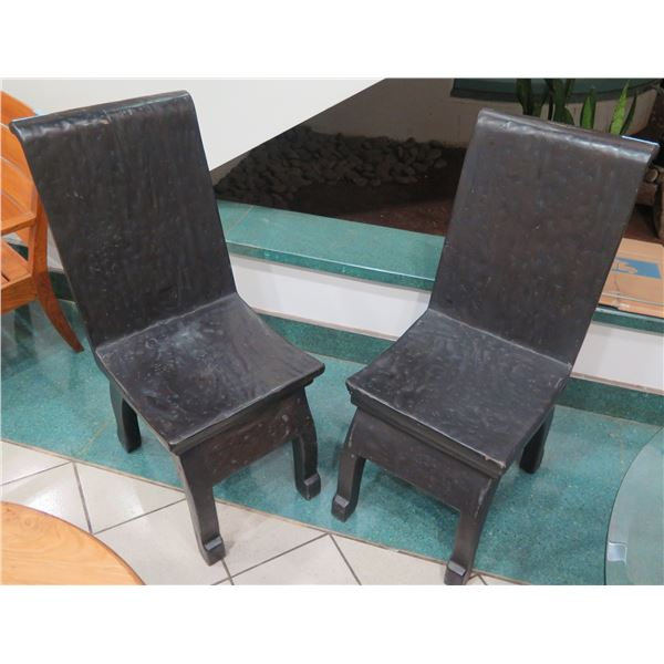 """Qty 2 Tall Solid Wood Chairs w/ Curved Back 18""""x17""""x41"""" Back Ht."""