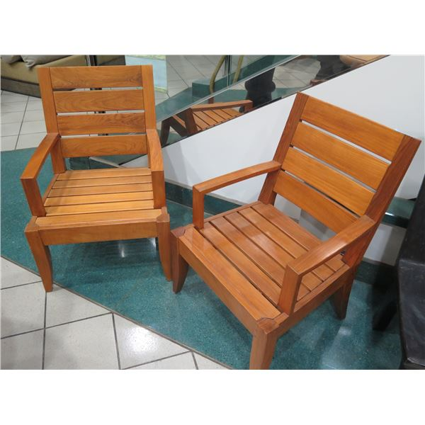 """Qty 2 Restoration Hardware Wooden Slatted Armchairs 24""""x20""""x36"""" Back Ht."""
