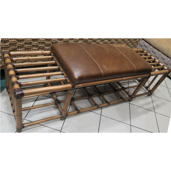 """Tommy Bahama Bamboo Rattan Bench w/ Leather Seat 63""""x18""""x18"""" H"""