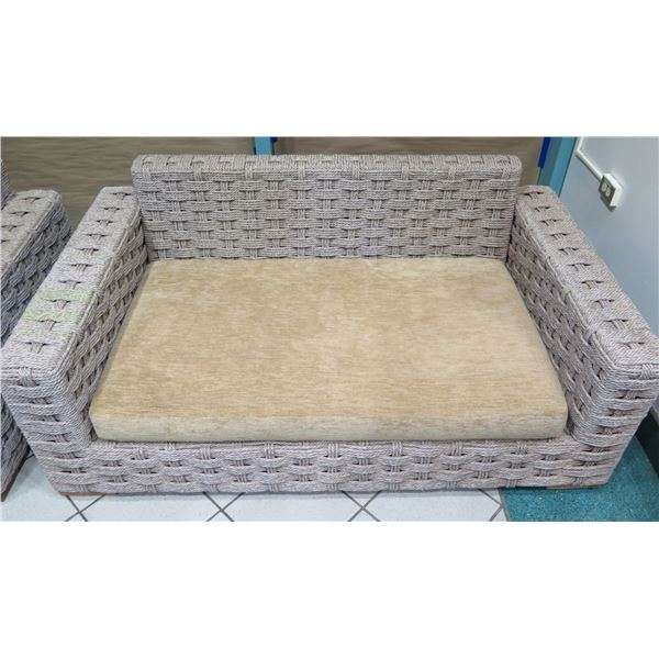 Woven Synthetic Rope Lounger w/ Tan Seat Cushion