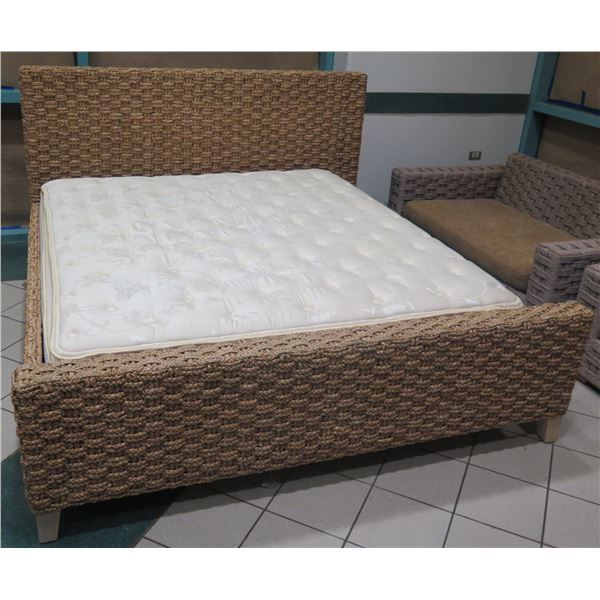 Serena & Lily Woven Rattan King Bed  w/ Headboard, Footboard (mattress not included)